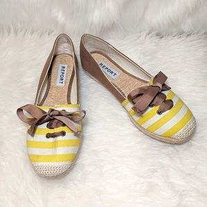 Report Shoes - Report Yellow & White Stripe Espadrille Flats